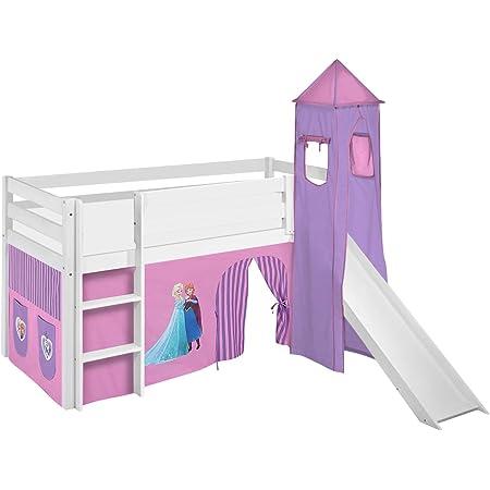 Lilokids Spielbett Jelle Eiskönigin, Hochbett mit Turm, Rutsche und Vorhang Lit pour Enfant, Bois, Lilas, 198 x 98 x 113 cm