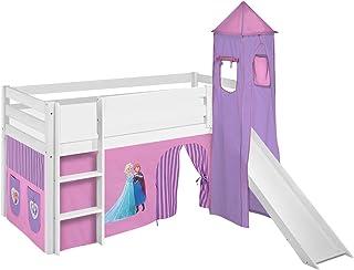 Lilokids Lit de Jeu Jelle Reine des Neiges - Lit Mezzanine avec Tour et Toboggan et Rideau - Lit pour Enfant en Bois - Vio...