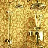 Venta al por menor de ducha de lujo - Barra de ducha de lluvia de latón de lujo Columna de ducha de color dorado Envío...
