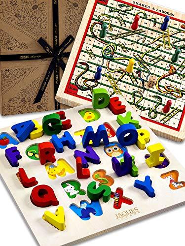 Jaques of London Alphabet Holzpuzzle 2 in 1 Schlangen und Leitern Brettspiel Holz-Lernspielzeug seit über 220 Jahren - Perfektes Puzzle für Kinder. Spielzeug für 2 3 4 5 jährige.