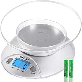 Etekcity Food Kitchen Bowl Scale, Digital Grams and Oz for Cooking, Baking, Weight Loss, Meal Prep, Shipping, and Dieting, 11lb/5kg, Silver Backlit Display
