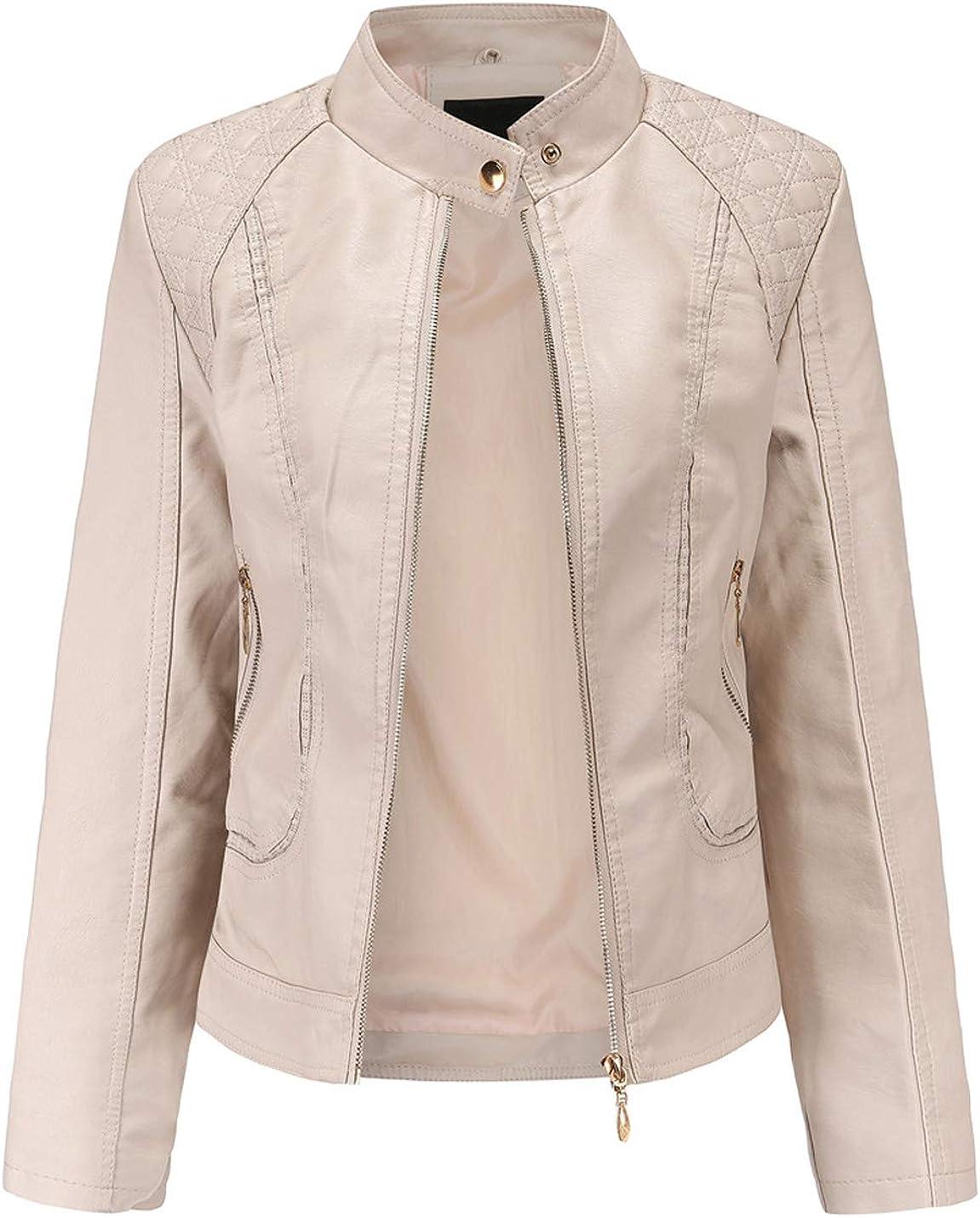 Gihuo Women's Casual PU Leather Moto Biker Jacket Outerwear