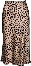 Keasmto Leopard Midi Skirt Plus Size for Women High Waist Silk Satin Elasticized Skirts