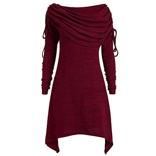 1e1e5b47c3c7 Longra Herbstmode Damen Pullover Longpullover Foldover Kragen Tunika Falten  Shirt Damen Loose Asymmetrisch Sweatshirt Long Top