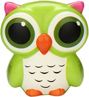 Ackful🍁Adorable Owl Squishy Slow Rising Cartoon Doll Cream Scented Stress Relief Toy (Green)