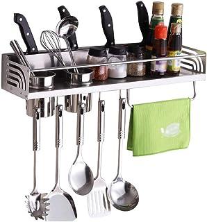 WZHZJ Supports à épices muraux en Acier Inoxydable Organisateur de Cuisine étagères de Rangement ustensile cuillère Gadget...