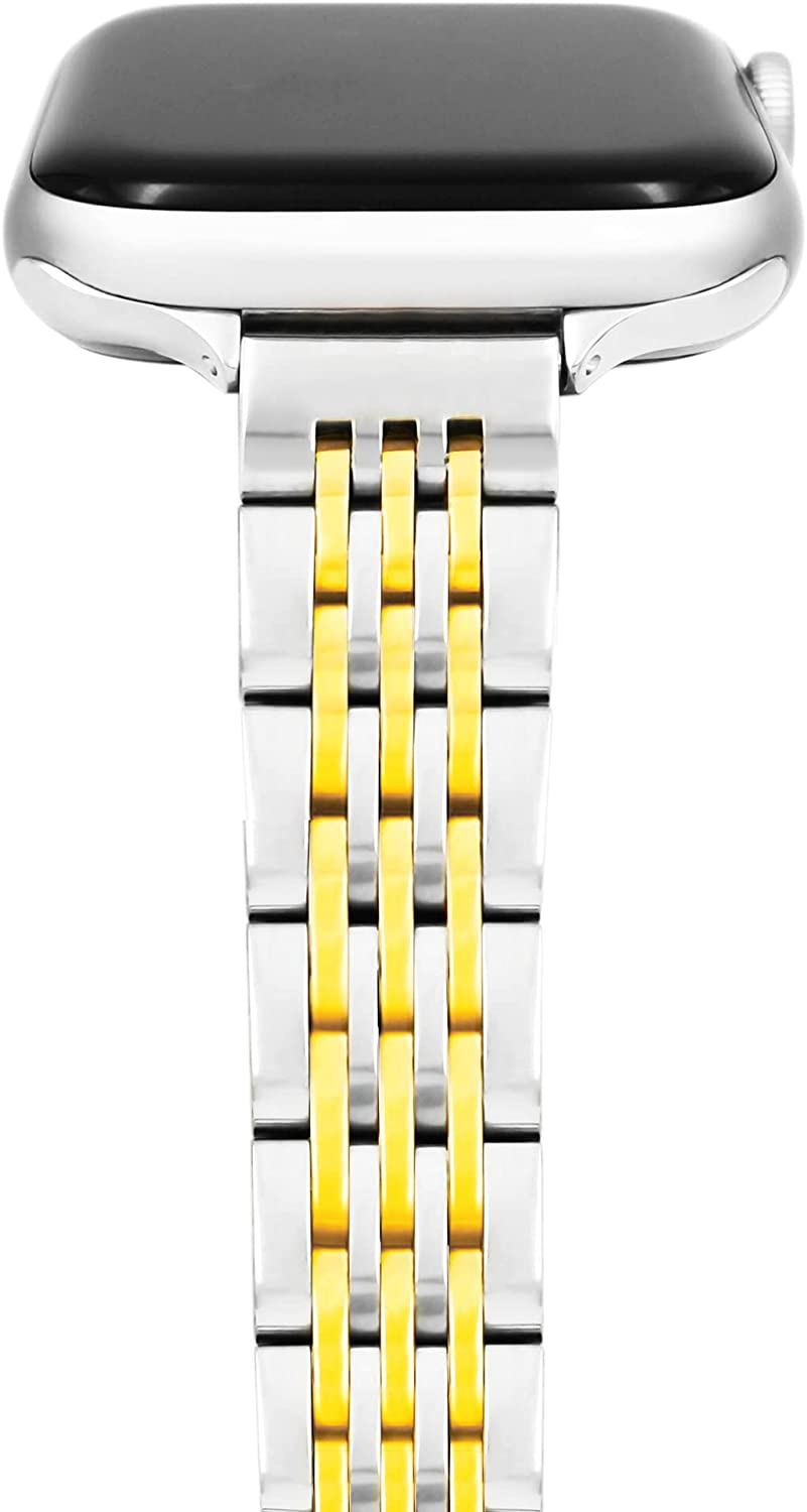 Band For Apple Watch 38mm 40mm For Women, Feminine/Thin Watch Bands Compatible with Apple Watch Bands Series 5, Series 4, Series 3, Series 2, Series 1 38mm 40mm Silver and Gold