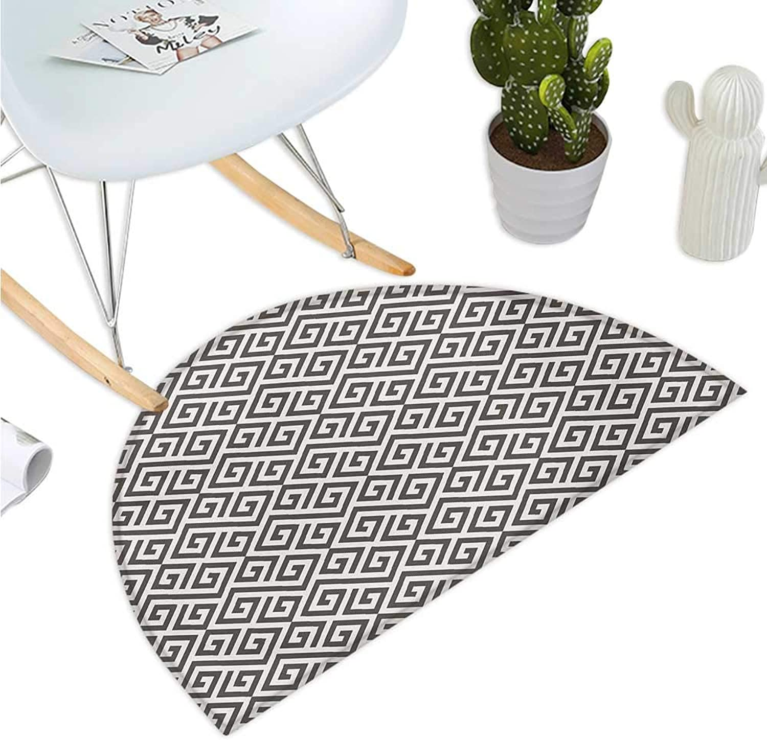 Modern Semicircular Cushion Geometrical Tribal Ethnic Detailed with Maze Like Shapes Artwork Print Entry Door Mat H 43.3  xD 64.9  White and Army Green