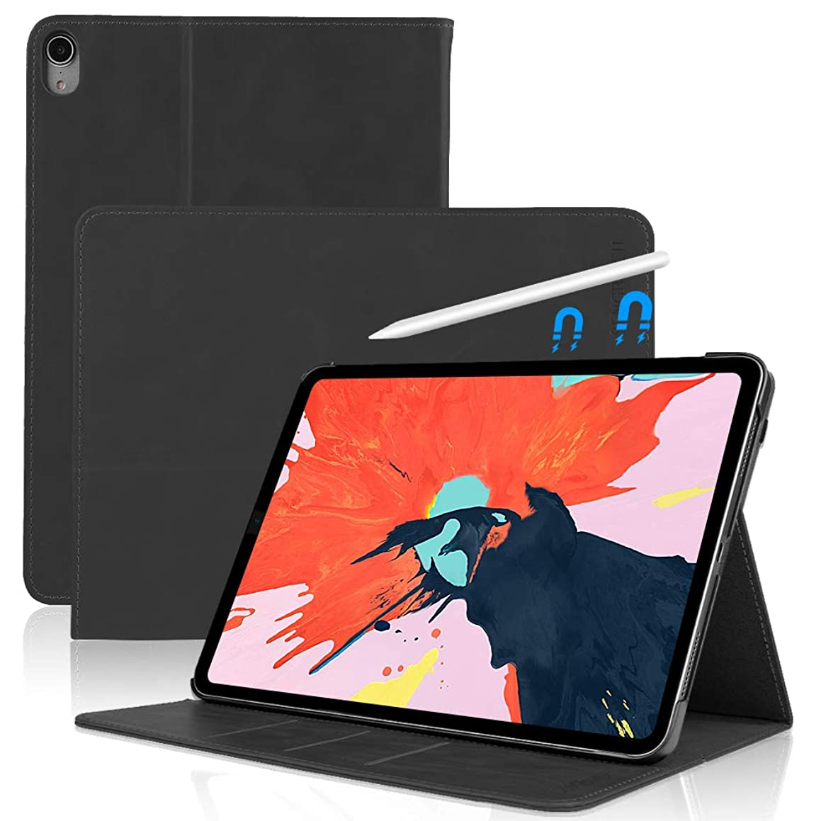 SENGBIRCH Leather Case Compatible for iPad Pro 11 - Leather Smart Cover Protective - Folio Flip Stand with Magnetic - Auto Sleep/Wake - iPad Pro 11 Case (Black)