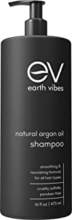 Earth Vibes Organic Moroccan Argan Oil Shampoo - (16oz/473mL) - Sulfate & Paraben Free - Made With Jojoba Oil, Coconut Oil - Moisturizing, Strengthening, Volumizing All Hair Types - For Men & Women