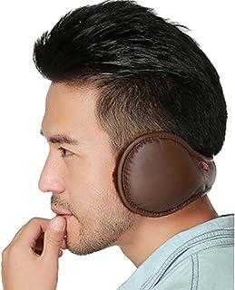 LerBen Foldable PU Leather Earmuff Faux Furry Behind Head Ear Warmer Unisex