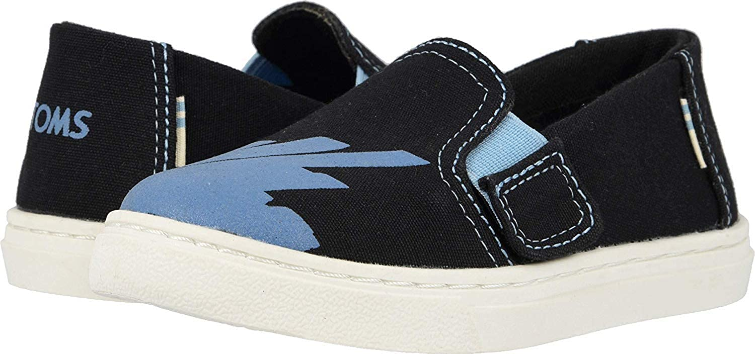 TOMS Tiny Luca Slip-On Shoes, Size: 6 M US Toddler, Color: Blk CNVS/GLW in Dark