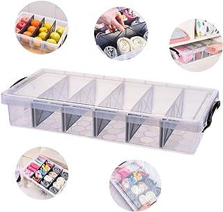 AMX Caja de Almacenamiento Plegable de Tela con Tapa etc Beige Bufandas Cesta de Almacenamiento de Armario para Calzoncillos