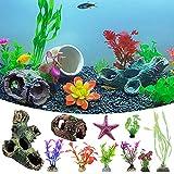 LAVECAR Juego de 12 decoraciones de acuario para peceras, casas, plantas artificiales de plástico realista, adorno de estrellas de mar para accesorios de pecera