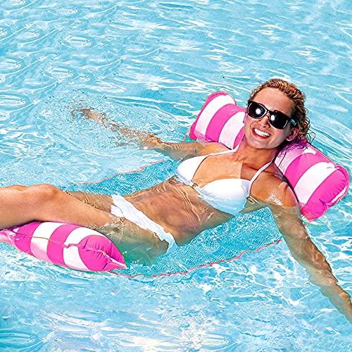 GUBOOM Aufblasbares Schwimmbett, Pool Hängematte Wasserhängematte 4-in-1 Lounge Sessel Pool Lounge Luftmatratze Pool Schwimmende Hängematte Pool für Erwachsene und Kinder (Rosa)