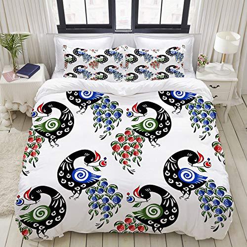 ALLMILL Bedding Bedrucktes Bettbezug-Sets,Nahtlose Muster Vögel russische Trachtenmode,Mikrofaser Kinder Student Schlafsaal Bettwäsche Set (1 Bettbezug + 2 Kissenbezüge)