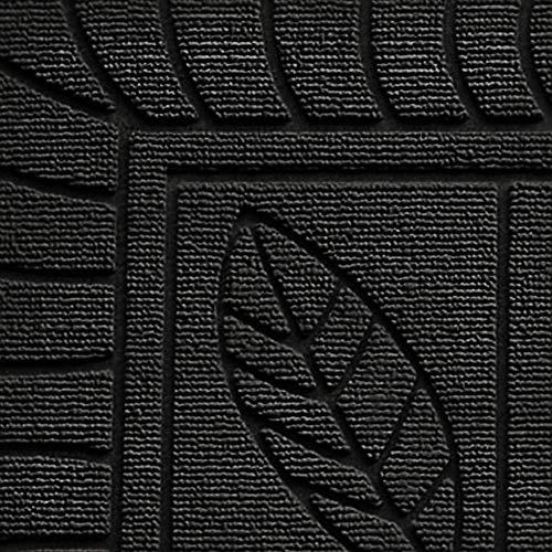 douceur d'intérieur tapis d'entree rectangle 45x75 cm pvc feuilles noir