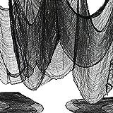 WELLXUNK Halloween Decoration Tela De Gasa Negra De Halloween,196,8 x 79 Pulgadas Tela Espeluznante,Decoración De Casas Embrujadas Espeluznantes Suministros para Fiestas De Halloween