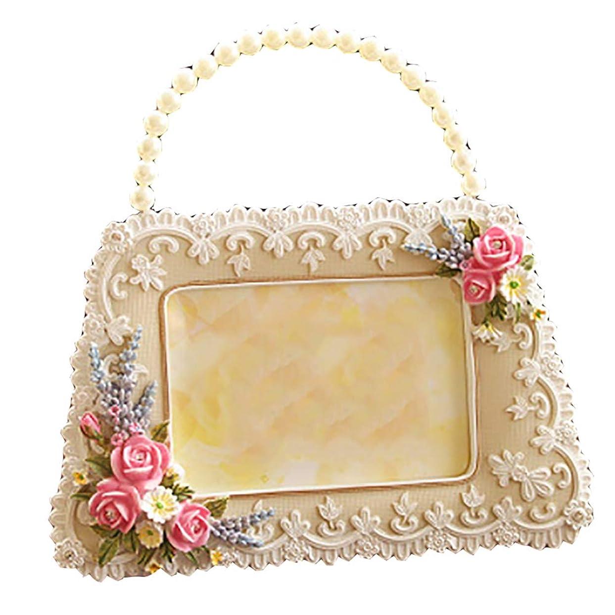 ひばり無声で検出するサイズ20.5 * 20.5cm5インチパーソナリティ韓国の庭の袋タイプのフォトフレーム真珠の王女の結婚式の写真ギフト創造的で実用的な