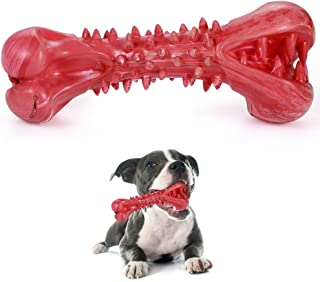 Kaqulec [2019 Update] Durable Dog Bone Chew Toy Puppy Indestructible Toy Molar Tooth Cleaning and Safety Chewing Toy Resistant Dog Bite Rubber Dog Chew