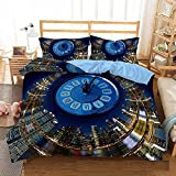 Bedclothes-Blanket Trapunta Matrimoniale Estiva Moderna,Il Letto 3D Single Beding Quilt Set Three-Piece Clock-172 * 218_5.