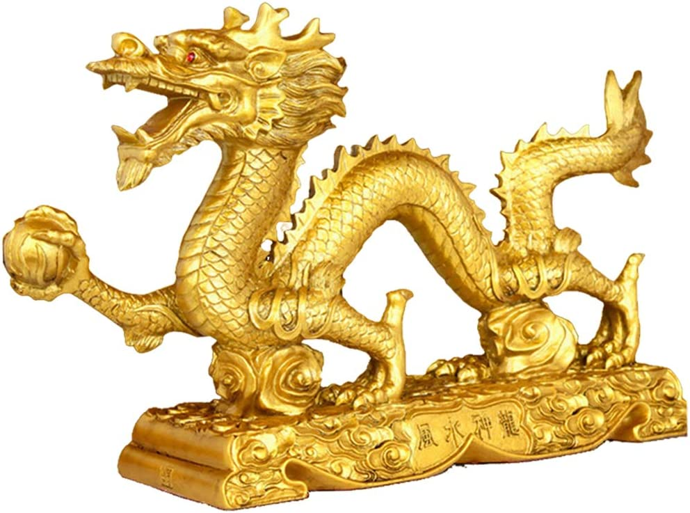 FAKEME Chinese Feng Shui Dragon Collectibl Golden Las Vegas Mall Resin Japan's largest assortment Figurine