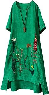Minibee Women's Embroidered Linen Dress Summer A-Line Sundress Hi Low Tunic Clothing
