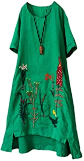 Minibee Women's Embroidered Linen Dress Summer A-Line Sundress Hi Low Tunic Clothing