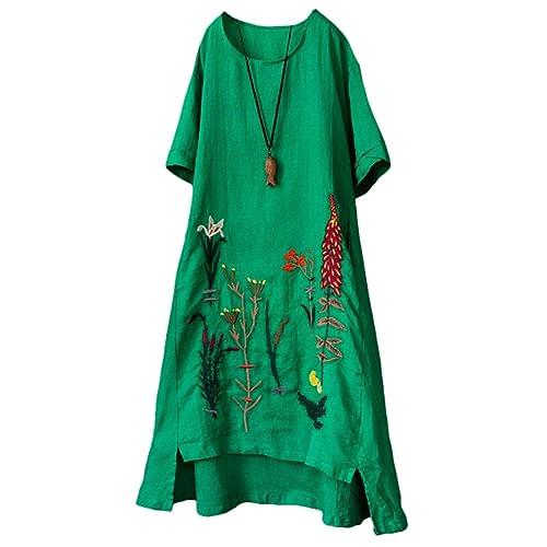 85548316e7 Minibee Women s Embroidered Linen Dress Summer A-Line Sundress Hi Low Tunic  Clothing