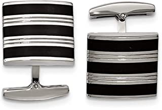 Stainless Steel Polished Grooved Black Rubber Stripes Cufflinks