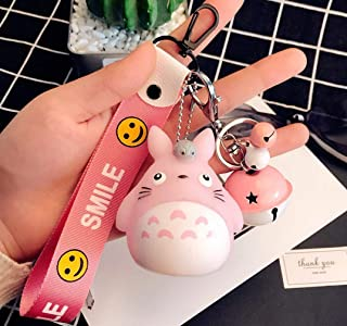 1 Super Cute Cartoon Bell Totoro Keychain Different Squeaky Voice Toy Bag Pendant Gift Set