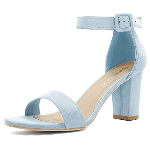 90dcc72124bc Allegra K Women s Chunky High Heel Ankle Strap Sandals (Size US 6) Sky Blue