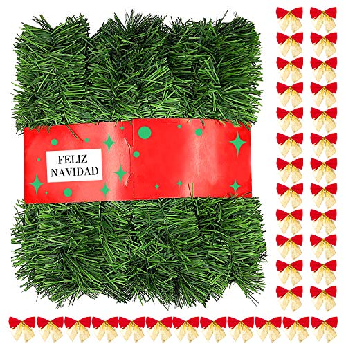 Icnow 72Feet/20M Christmas Garland Home Decorated Garlands Artificial Pine Soft Green Christmas Decoration for Home Garden Holiday Wedding Party Stairs Fireplaces(with 36 Bow)