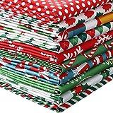 10 Piezas Tela de Algodón de Navidad Cuadrados 50 x 50 cm/ 19,68 x 19,68 Pulgadas Tela de Acolchado Precortado Tela Patchwork Rojo Verde Estampado de Copo de Nieve de Navidad para Costura Navidad