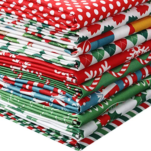 10 Pieces Christmas Fabric Squares Precut Quilting Fabric Patchwork Christmas Snowflake Print Red Green Fabric for Xmas Sewing Crafting DIY Supplies (25 x 25 cm/ 9.84 x 9.84 Inch)