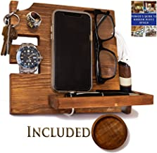 Wooden Docking Station for Men - Nightstand Organizer with Coaster - Charges Phone and Holds Keys, Watch, Wallet, Glasses, Ring, Pen, Coins– Perfect Gift with Varnish Finish and Free eBook by Peraco