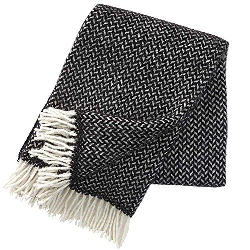 Klippan Yllefabrik AB, Bettüberwurf, 130x 200cm Wolle, schwarz/weiß