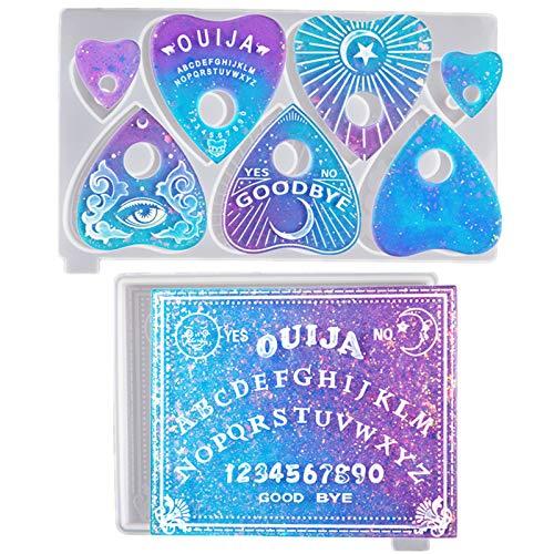 Souarts – Conjunto de moldes de silicone para placa Ouija, moldes de adivinhação para resina, moldes de placa de profecia, molde de coração em forma de coração, moldes de vaticinação para decoração de presentes (azul - 2 peças)