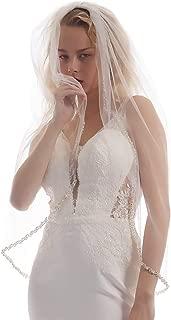Rhinestone Wedding Veils Edged with Pearls and Beads Fingertip bridal veil VL1003