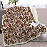 BlessLiving Beagle Blanket Fleece Throw Fuzzy Dog Blanket for Kids Adults Cute Puppy Fleece Blanket Reversible Animal Pattern Sherpa Throw(Beagles,Throw, 50 x 60 Inches)
