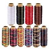 RMTIME 蝋引き糸 ロウ引き糸 ワックスコード 手縫い 手芸 紐 DIY レザークラフト糸 直径1mm 10個セット 各50m
