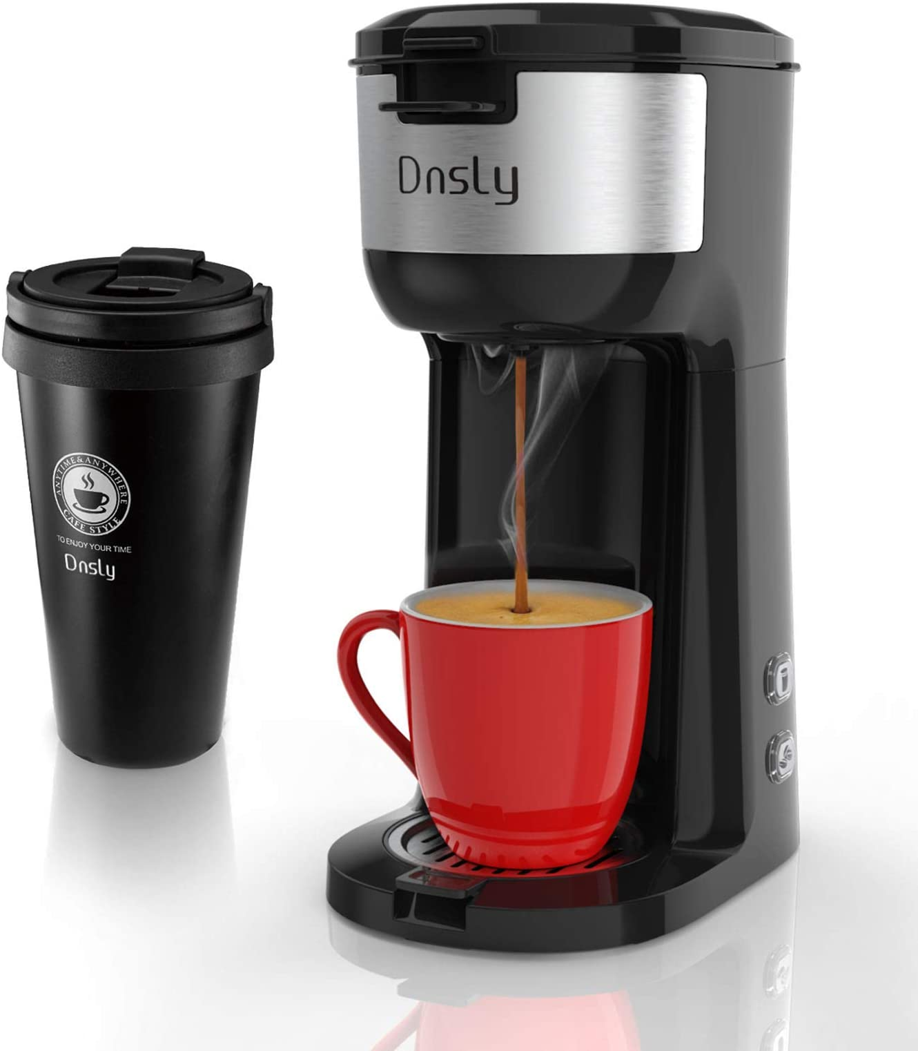 Dnsly Single Serve Coffee Maker attached Travel Mug, 2 in 1 Capsule Pod & Ground Coffee, With BPA Free, Strength Controlled from 6oz to 14oz and Self Cleaning Function
