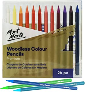Mont Marte Premium Woodless Color Pencils 24pc, 7mm Core, Vibrant Colors