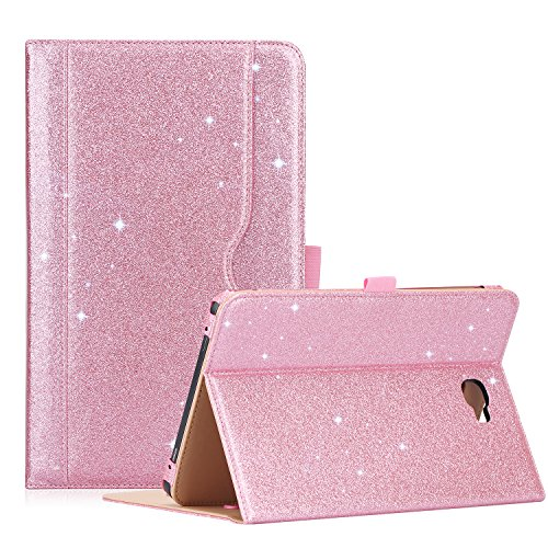 ProCase Galaxy Tab A 10.1 Case 2016 Old Model, Stand Folio Case Cover for Galaxy Tab A 10.1' Tablet SM-T580 T585 T587 (NO S Pen Version) with Multiple Viewing Angles, Card Pocket -Glitterpink