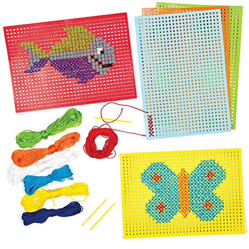 Baker Ross- Kits de Punto de Cruz (Pack de 6) -Manualidades Infantiles para Coser y exhibir