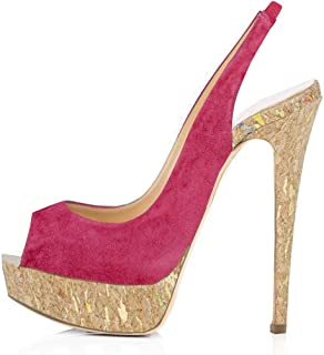 cb5b62ab4516cf Onlymaker Women s Platform Heeled Sandals Peep Toe Slingback High Heel  Pumps Stilettos Sandals Dress Party Shoes