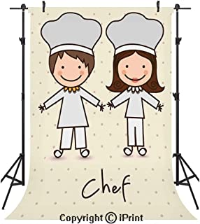 82959534b2e41 Kitchen Decor Photography Backdrops,Chef Hat and Uniform Kitchware Vintage  Style Design Home and Cafe