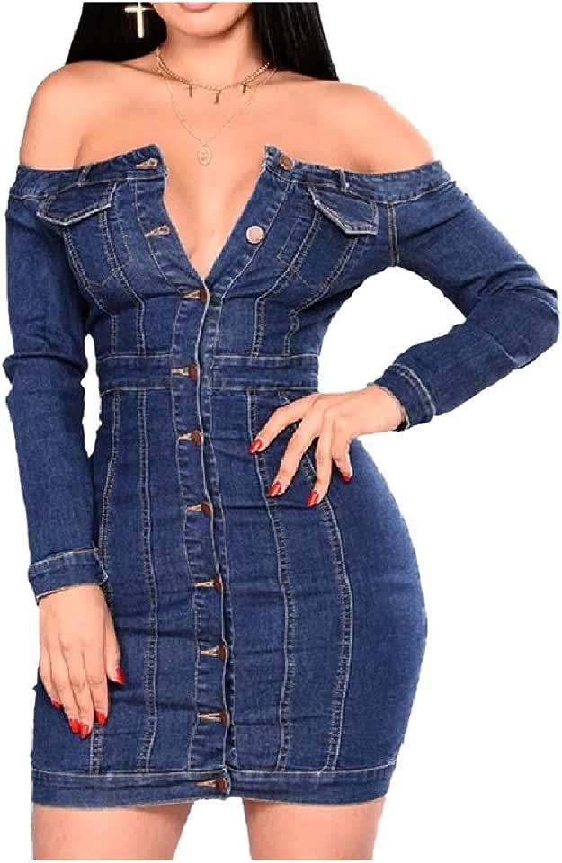 Losait Women Strapless Single Button Jeans Short Sexy Short Dresses