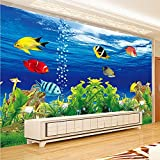 Equipo de Vida Mural Papel Tapiz fotográfico Personalizado 3D Estereoscópico Océano Acuario Sofá Fondo de TV Decoraciones de Pared Sala de Estar Mural Moderno Papel de pared-350X250CM