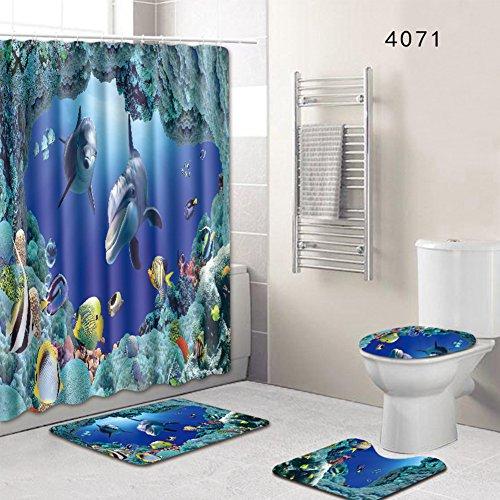 4-teiliges Duschvorhang-Set Badezimmer Anti-Rutsch-WC-Vorleger + Deckel WC-Abdeckung + Badematte + Duschvorhang mit 12 Haken, 8 Arten zur Auswahl, 45*75cm 4071, Free Size